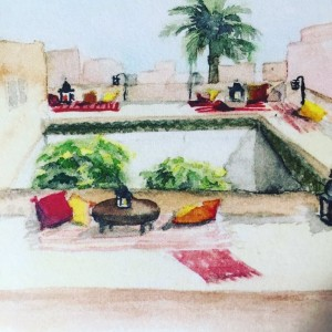 Aquarelle of the rooftop of my riad aquarelles aquarelle paintinghellip
